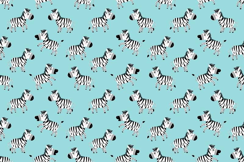 TenStickers. Zebra drăguță pentru covor de vinil pentru copii. Bucurați-vă copilul decorându-și camera cu acest adorabil covor de vinil cu model zebră, cu un fundal albastru deschis.