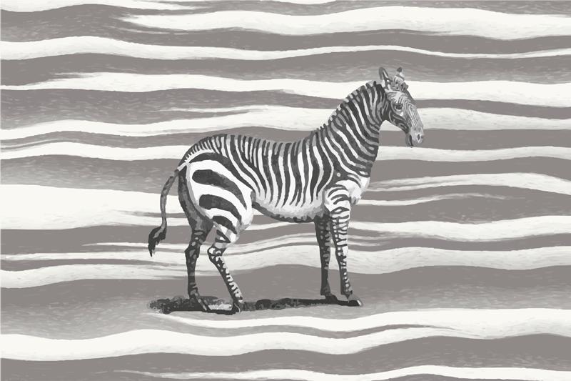 TenVinilo. Alfombra vinilo animal print cebra vintage. Alfombra vinilo animal print con ilustración de cebra vintage con estampado animal como fondo y una cebra en medio ¡Envío exprés!