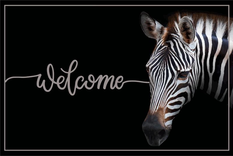 TenVinilo. Alfombra vinílica recibidor bienvenido con cebra. Dé la bienvenida a sus invitados cuando visiten su hogar con esta alfombra vinílica recibidor de bienvenida de cebra ¡Descuentos disponibles!