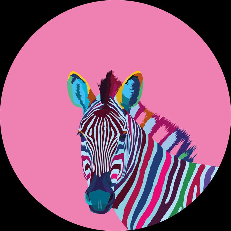 TenVinilo. Alfombra vinilo animales arte pop cebra. Tenga una hermosa obra de arte como decoración para mirar hacia abajo todas las mañanas con esta hermosa alfombra vinilo animales de cebra