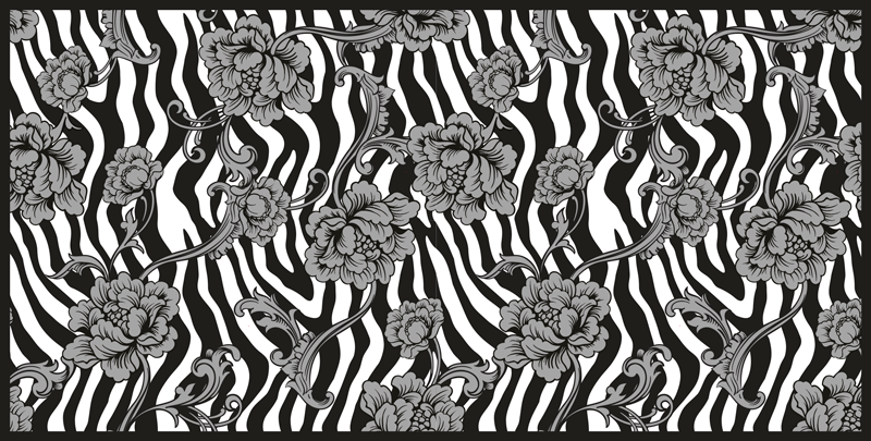 TenVinilo. Alfombra vinilo animal print cebra con flores. Renueve hoy sus suelos con nuestra alfombra vinilo animal print de cebra ¡Téngala en su propia puerta en cuestión de días!