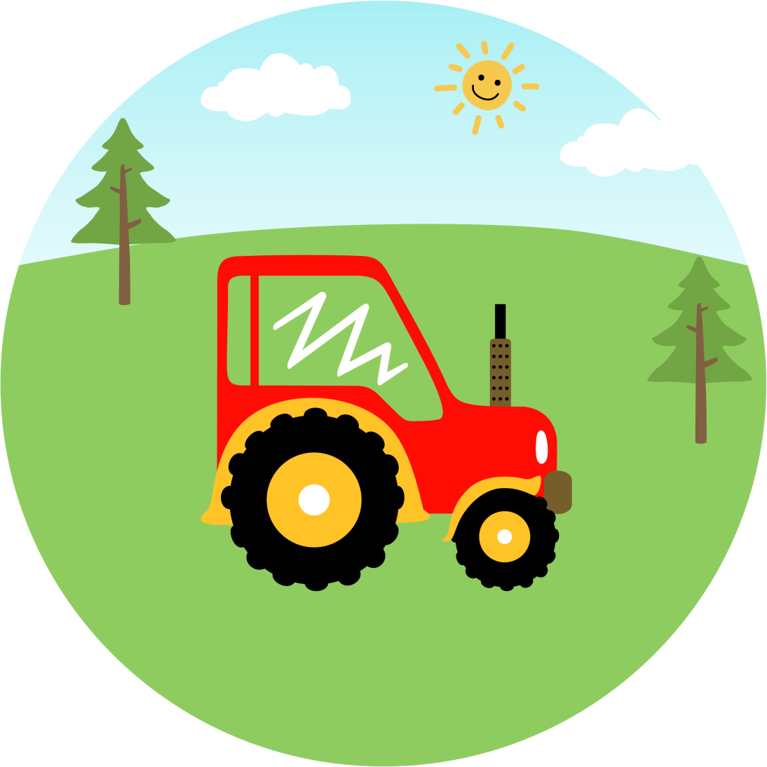TenStickers. Farm red tractor kids vinyl carpet. Amazing farm illustration vinyl rug for kids bedroom. This carpet is produced from quality vinyl and it last for a long time without any damage.
