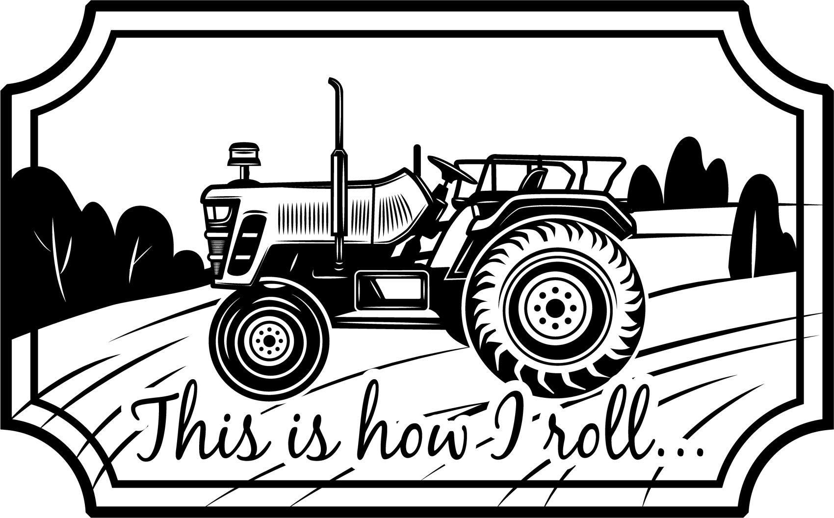 TenStickers. This is how I roll tractor bespoke vinyl rugs. Custom tractor vinyl rug design with an irregular shape. The vintage style carpet with tractor is inscribed with text that reads 'That's how we roll'.