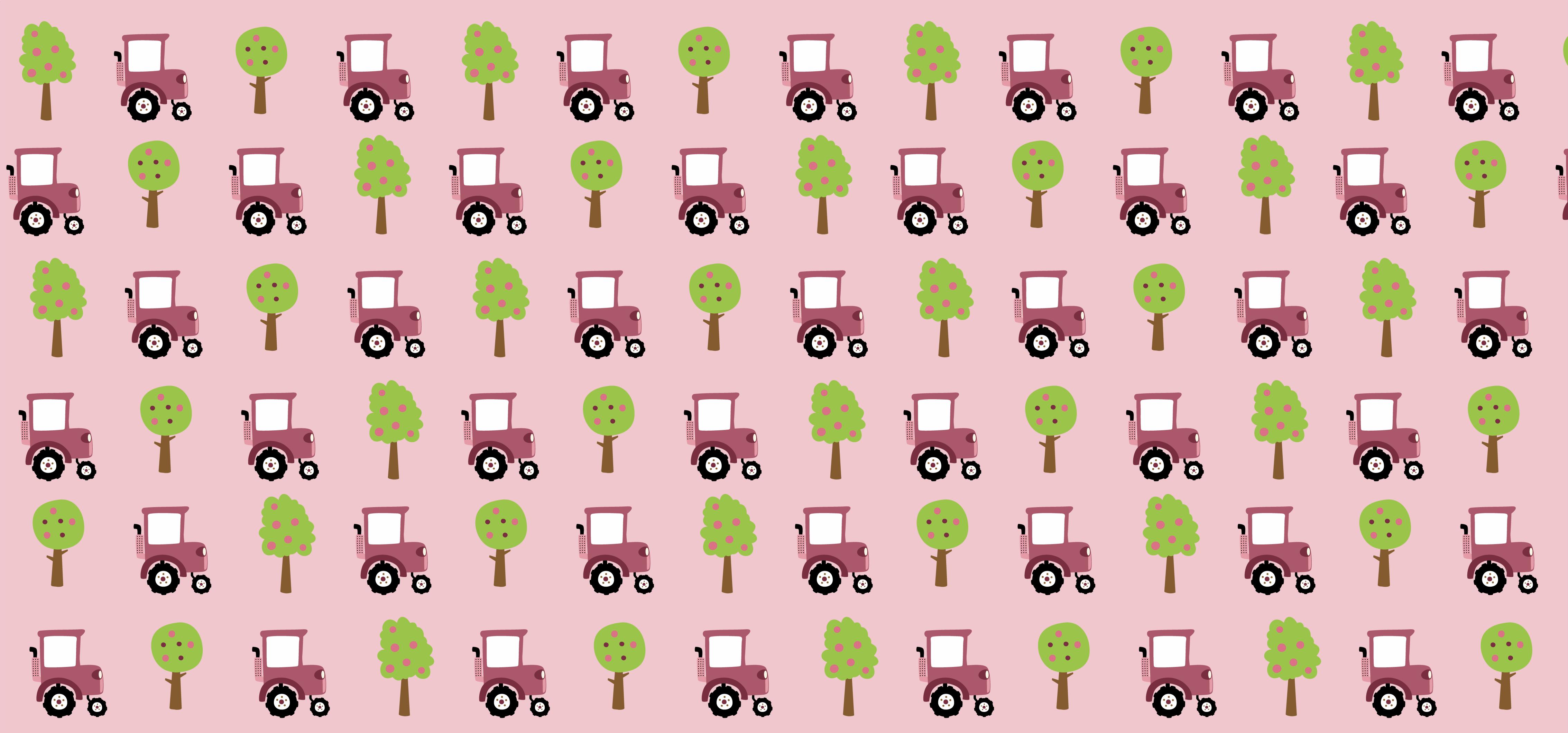 TenVinilo. Alfombra vinilo infantil patrón tractor rosa. Consiga a su hijo la mejor decoración que podría haber pedido con esta original alfombra vinilo infantil rosa ¡Fácil de limpiar si se ensucia!