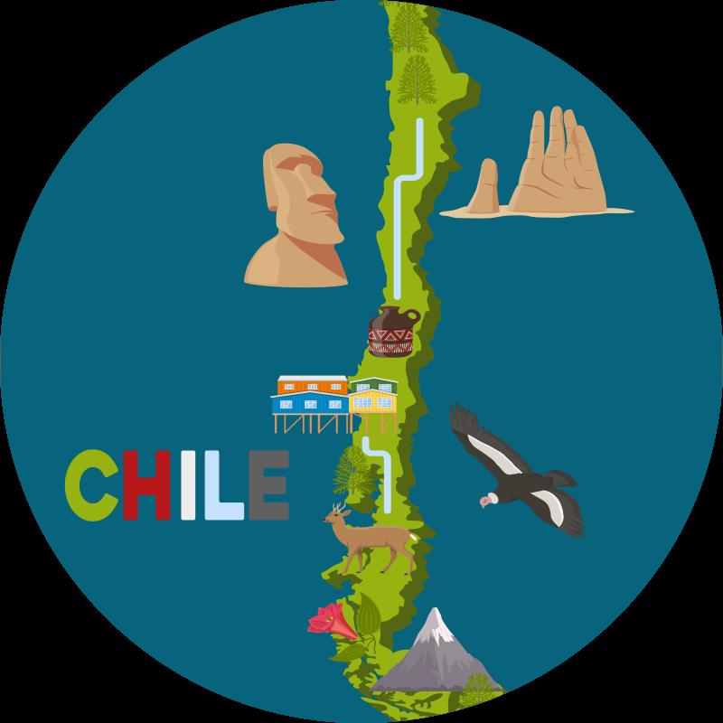 TenVinilo. Alfombra vinilo mapa Chile con flora y fauna. Una alfombra vinilo mapa Chile con diseño que muestra características como flora y fauna del lugar. Es original, duradero y fácil de limpiar.