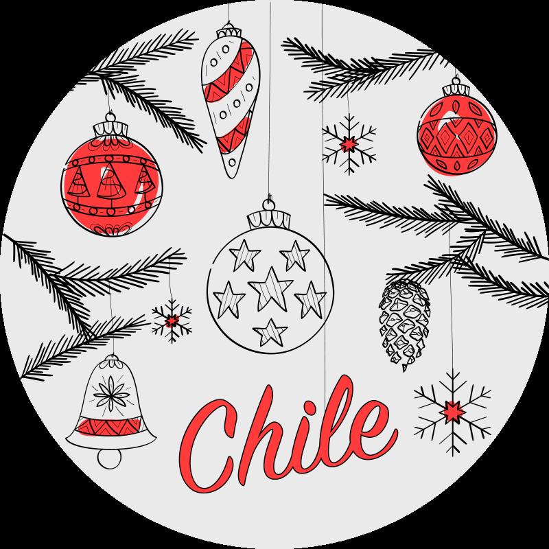 TenStickers. Design de crăciun cu covoare personalizate cu pavilion chile. Un covor uimitor de vinil de crăciun pentru a decora casa pentru a vă bucura de festivitatea crăciunului. Este original, durabil și ușor de întreținut.