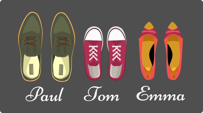 TenStickers. Family's members names with shoes personalised vinyl rug. Fun and interesting illustrative family vinyl carpet with pairs of customized shoes  design.  It is easy original, durable and easy to maintain.