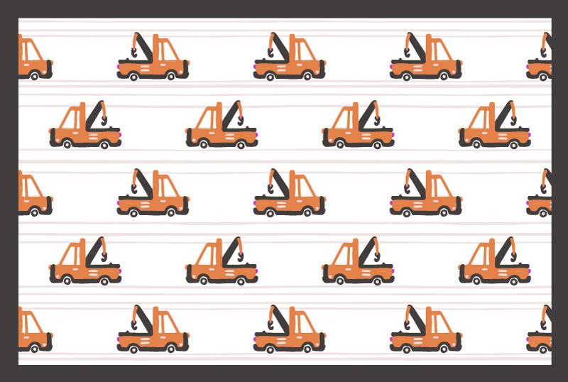 TenVinilo. Alfombra vinilo rayas camiones rojos. Alfombra vinílica infantil a rayas rojas para dormitorio con camiones de construcción. Es fácil de limpiar, antideslizante y en varios tamaños