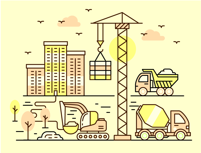 TenVinilo. Alfombra vinilo infantil camiones construcción. Decora la habitación de tu peque con esta camioneta con alfombra vinilo infantil con camiones construyendo ciudad ¡Envío exprés a domicilio!