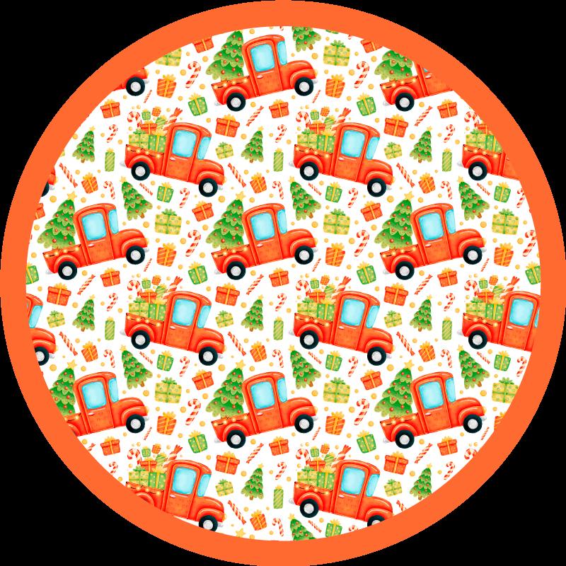 TenVinilo. Alfombra vinilo infantil camión árbol navidad. Decore la habitación de sus hijos con un aspecto divertido e interesante con nuestra alfombra vinilo infantil de camión con árbol de navidad