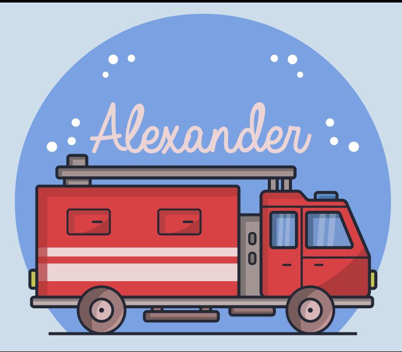 TenStickers. Covor de vinil pentru camion de pompieri cu nume personalizat. Personalizați numele copilului dvs. Pe acest covor personalizat de vinil pentru camion pentru copii, pentru a personaliza dormitorul. Produs cu vinil de cea mai bună calitate și durabil.