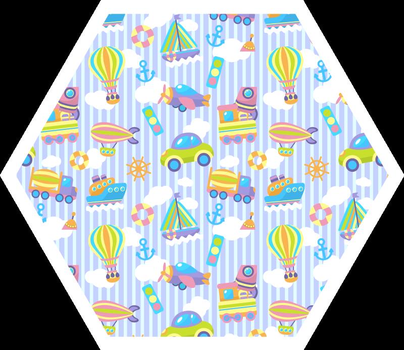 TenVinilo. Alfombra vinilo infantil de trenes y globos. Transforme completamente la apariencia de la habitación de sus hijos con nuestra alfombra vinilo infantil de globos, trenes camiones y más