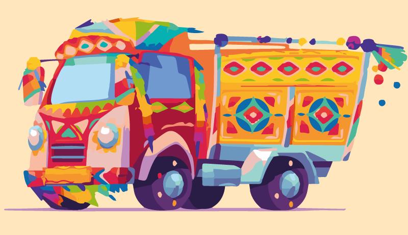 TenVinilo. Alfombra vinilo infantil camión de carnaval. Divertida e interesante alfombra vinilo infantil de carro de carnaval para decorar la habitación de un niño. Es original y de fácil mantenimiento.