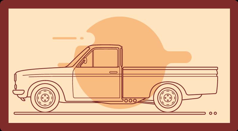 TenStickers. Pick up truck cinza tapete de vinil infantil. Compre este tapete de vinil agora e desfrute por muito tempo. é feito de texturas étnicas e modernas, peça agora para entrega em domicílio!