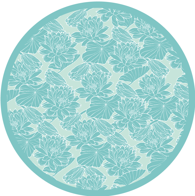 TenStickers. Lotus sketch flower vinyl rug. An amazing lotus print floral vinyl rug to decorate your home. Nice for any space in the hose, both inside and outside. Original and easy to maintain.