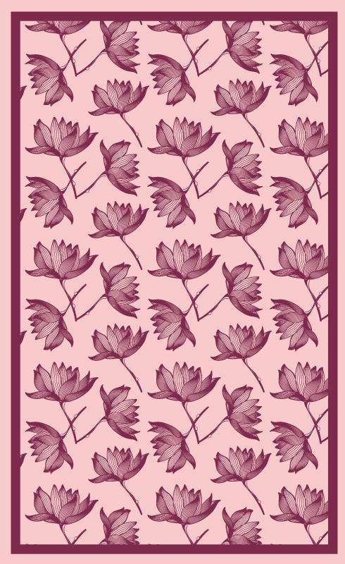 TenVinilo. Alfombra vinilo flores de loto rosa. Alfombra vinilo floral en tonos rosa loto para añadir un aspecto y un efecto brillantes a cualquier lugar. Es fácil de mantener y lavable