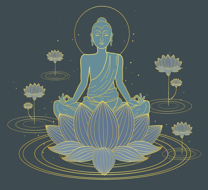 TenVinilo. Alfombra vinilo zen flor de loto y buda. Alfombra vinilo zen con motivos florales adecuada para la sala de estar y otros espacios. Es duradero y está disponible en varios tamaños.