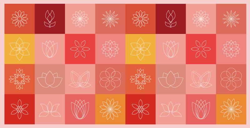 TenStickers. Lótus e outros azulejos de flores tapete de flores. Fabricação de tapete colorido de vinil floral de lótus com o melhor vinil de qualidade que existe no mercado. é duradouro e fácil de limpar.