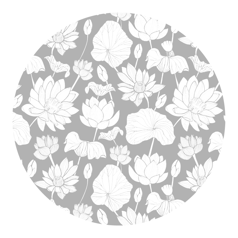 TenStickers. Lotus white flower vinyl rug. Our customize size vinyl carpet with round shape and white lotus flower prints design. You would sure love this carpet on your space.