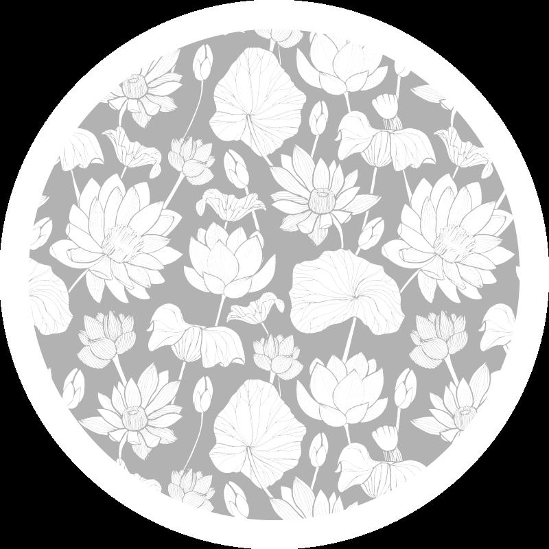 TenVinilo. Alfombra vinilo redonda patrón flor de loto. Nuestra alfombra vinilo redonda de tamaño personalizado con forma redonda y diseño de estampados de flores de loto blanco ¡Envío exprés!