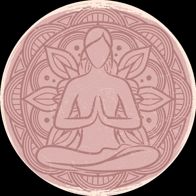 TenVinilo. Alfombra vinilo flor de loto para meditar. Alfombra vinilo flor fácil de limpiar con diseño de flor de loto y figura de meditación. Fácil de limpiar y fabricado con vinilo de primera calidad.
