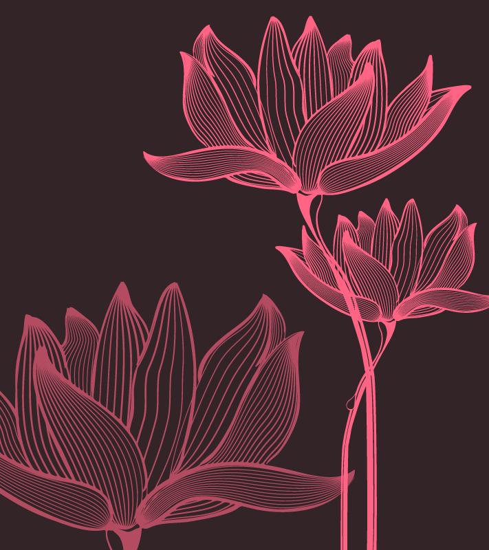 TenStickers. Dywan winylowy kwiat lotosu dwa kwiaty. Dywan winylowy z dwoma różowymi kwiatami lotosu na czarnym tle. Ten element dekoracyjny wykonana jest z wysokiej jakości materiałów. Sprawdź to!