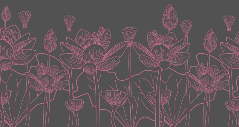 TenStickers. 莲花灰色和粉红色花朵乙烯基地毯. 莲花灰色和粉红色花朵乙烯基地毯,适合您的走廊,休息室,办公室和家庭。用优质乙烯基制造,坚固耐用,并且可以提供任何尺寸。