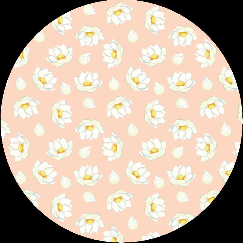 TenVinilo. Alfombra vinilo rosa pétalos loto blancos. Alfombra vinilo rosa redonda que alberga hermosas impresiones de diseño de flores de pétalos de loto. Ideal para cualquier estancia del hogar