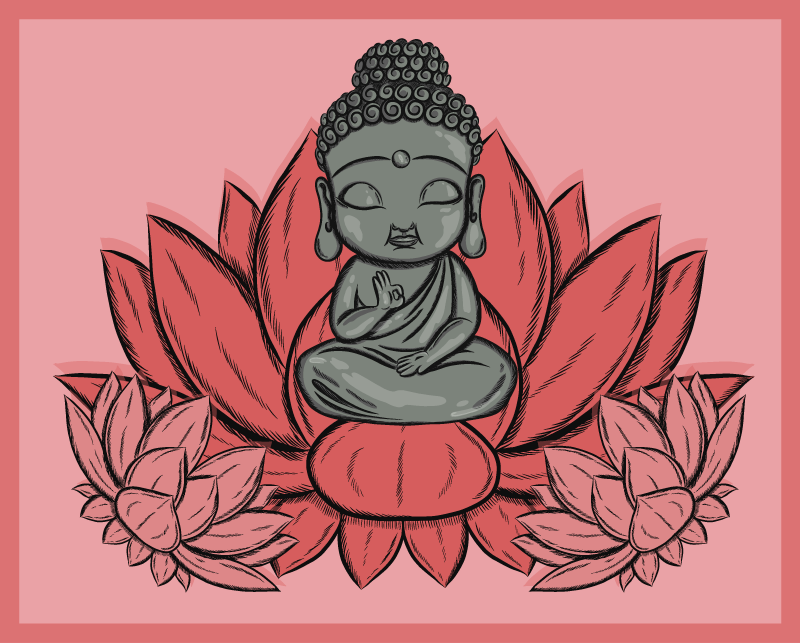 TenVinilo. Alfombra vinilo dormitorio flor loto y buda. Si eres un amante de la cultura budista o te encantan las flores de loto, ¿por qué no tener algunas de las dos? ¡Compre esta alfombra vinílica roja!