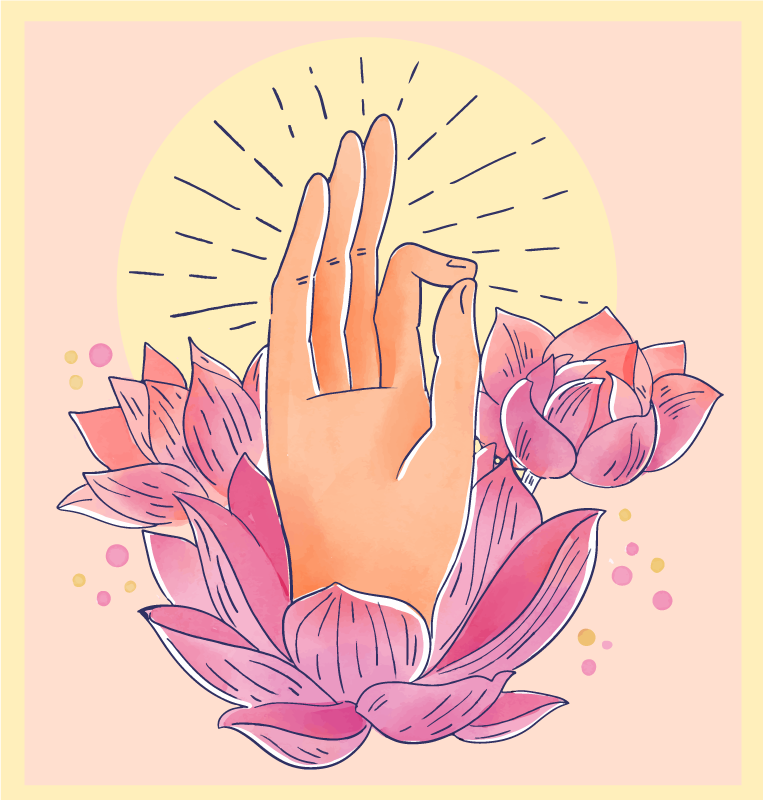 TenVinilo. Alfombra vinilo flores de loto con mano. Fije sus ojos en esta alfombra vinilo flores de lotus zen ¡Diseño absolutamente impresionante que te dará paz interior cuando lo mires! ¡Envío exprés!