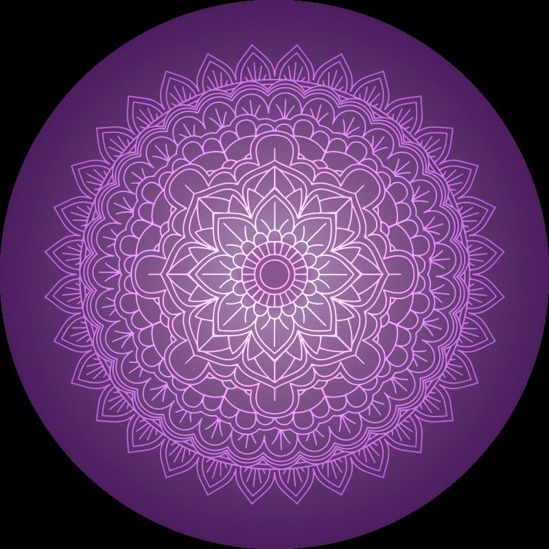 TenStickers. Fioletowa mandala mata winylowa. Dywan winylowy z fioletową mandalą. Wzór przedstawia fioletową mandalę kwiatową. wykonana jest z wysokiej jakości materiałów winylowych. Sprawdź to!