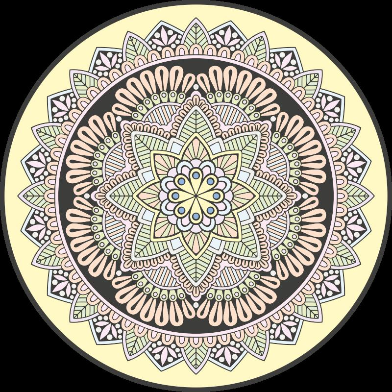 TenStickers. Dywan winylowy Wielobarwne mozaiki mandali. Dywan winylowy czarno-biały mandala. Jest wykonana z wysokiej jakości winylu i można go łatwo czyścić i przechowywać. Sprawdź to!