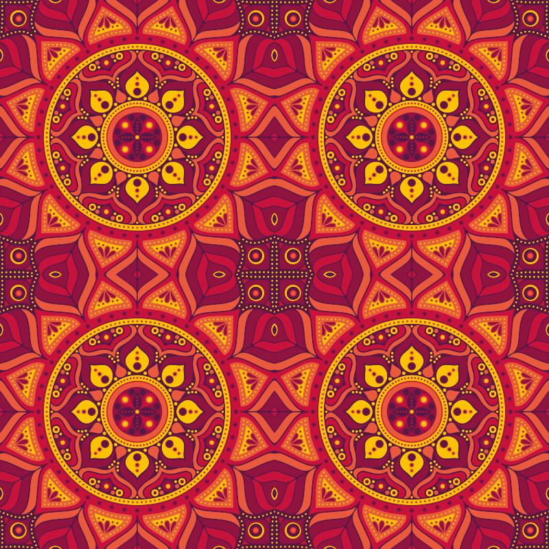 TenVinilo. Alfombra vinilo mandala tonos rojos. Si buscas decorar tu hogar con un toque original y colorido, entonces debes considerar esta colorida alfombra vinilo de mandala rectangular