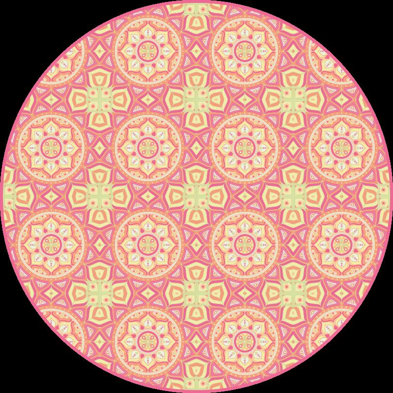 TenVinilo. Alfombra vinilo redonda mandalas rosas. Alfombra vinilo redonda de colores con diseño de mandala perfecta para decorar cualquier lugar de una casa. Disponible en cualquier tamaño.