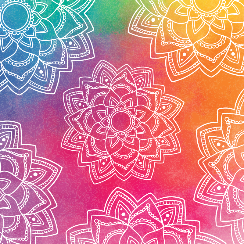 TenStickers. Rainbow colour background mandala mat. Our rainbow colour mandala patterned vinyl carpet would decorate your home with a colorful, interesting and brilliant look.