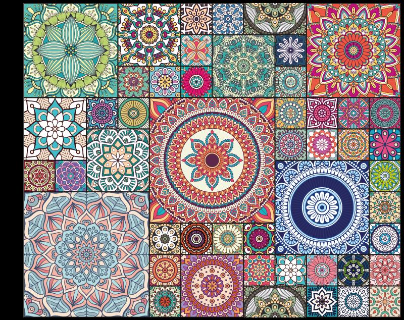TENSTICKERS. マンダラタイルマンダラマット. 私たちのタイルパターンの曼荼羅ビニールカーペットを使用すると、カラフルなオリエンタルスタイルであなたの家を故意に飾ることができます。メンテナンスが簡単で耐久性があります。