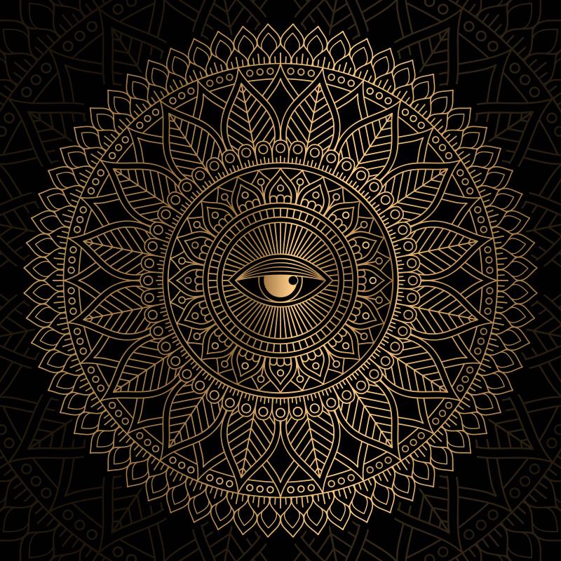 TENSTICKERS. 曼荼羅すべて見る目曼荼羅マット. 仏の目で金色の装飾模様の曼荼羅デザインの素敵な黒の背景ビニールカーペット。あなたが望むどんなサイズでも利用できます。