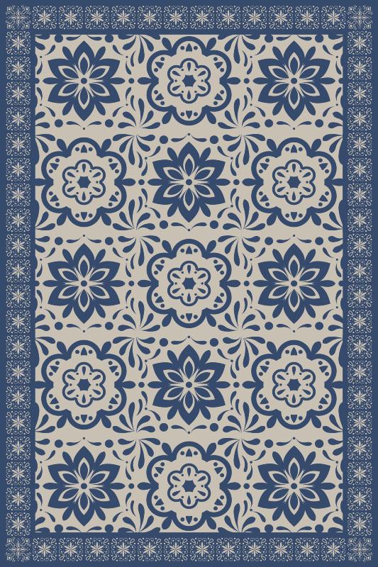 TenStickers. Albastru hidraulic florale temă faianță mat. Acest uimitor covor albastru cu temă florală hidraulică modernă va arăta grozav pe podelele din casa ta. De ce să nu cumperi unul și să încerci unul pentru tine?