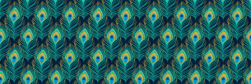 TenStickers. Tapete com estampa animal de penas de peackock. Incorpore um efeito muito lindo e colorido em seu espaço com nosso tapete de vinil verde com produtode penas de pavão. Personalizável em qualquer dimensão.