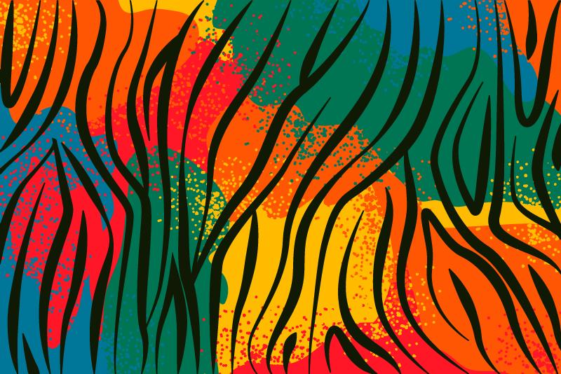 TenStickers. Tappeto in pvc stampa animale Stampa animale africano. Tappeto in vinile con stampa animalier motivo tribale colorato per incorporare effetti decorativi tribali nel tuo spazio.