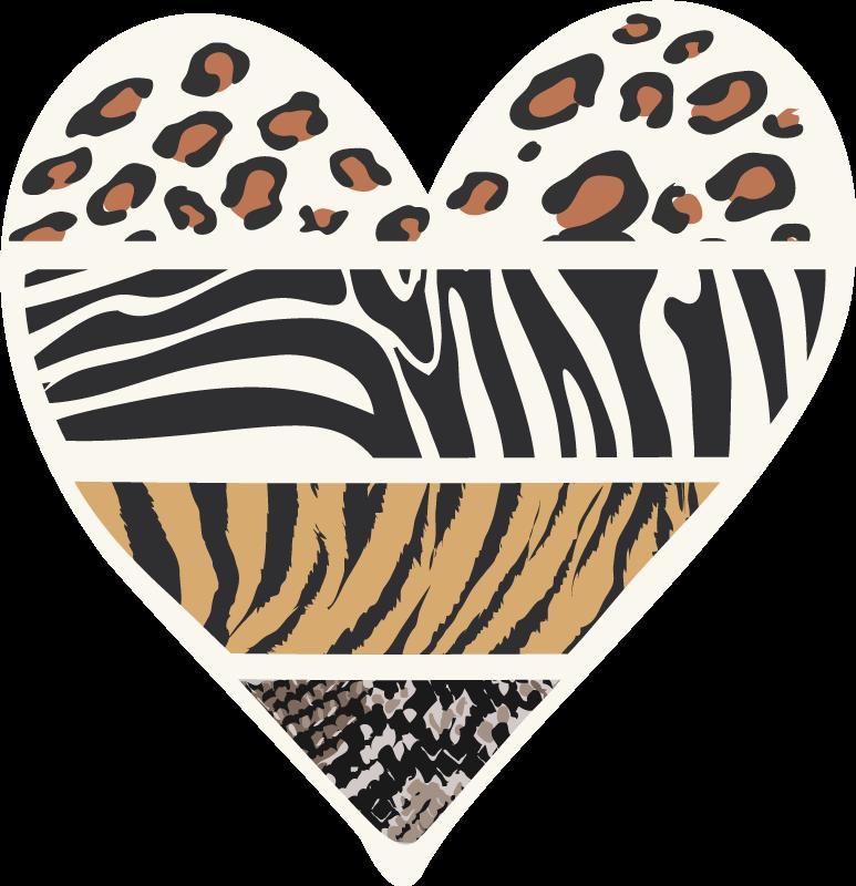 TenStickers. Animal print com coração animal print tapete. Tapete de vinil em forma de coração com desenho animal print. Adorável para decorar qualquer espaço de chão em uma casa e para uma entrada, escritório de banheiro, etc.