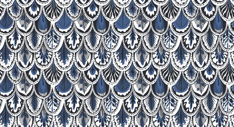 TENSTICKERS. 青い鳥の羽アニマルプリントカーペット. 家、オフィス、スペース、客室などを飾る青い背景の青い羽模様の動物用ビニールラグ。オリジナルでメンテナンスが簡単です。