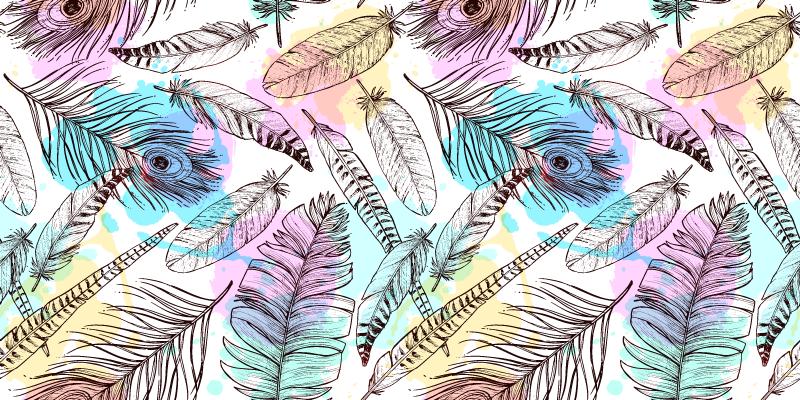TenStickers. Tapete com estampa animal de penas de pássaro. Tapete de vinil com penas de pássaros coloridas para decorar um espaço com um visual encantador. Adequado para qualquer espaço de uma casa e é realmente fácil de manter.
