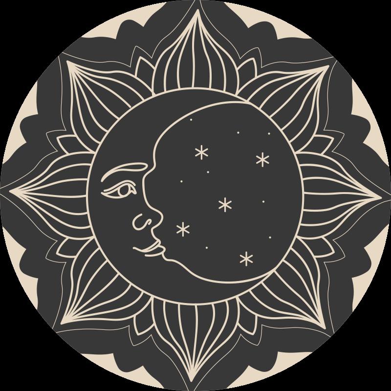TenStickers. O sol e o tapete da natureza da lua. Belo produtodo tapete de vinil da natureza representando o sol com a lua. Como todos os pisos dos Os nossos quartos, também este é feito de produtos de alta qualidade.