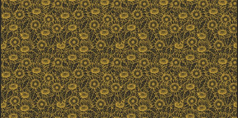 TenStickers. Fundal întunecat soare flori covor. Aruncați o privire atentă la această superbă pardoseală de living cu un model de floarea-soarelui pe un fundal întunecat. Adaugă-l în coș acum!