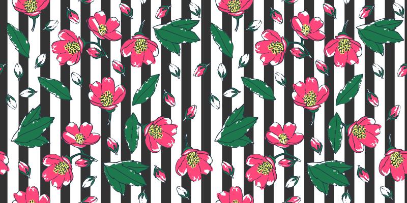 TenStickers. Tapete de vinil rosa floral, riscas pretas e brancas. Tapete de vinil listrado que apresenta imagens de flores rosa e folhas verdes contra um fundo listrado preto e branco. Personalizado.