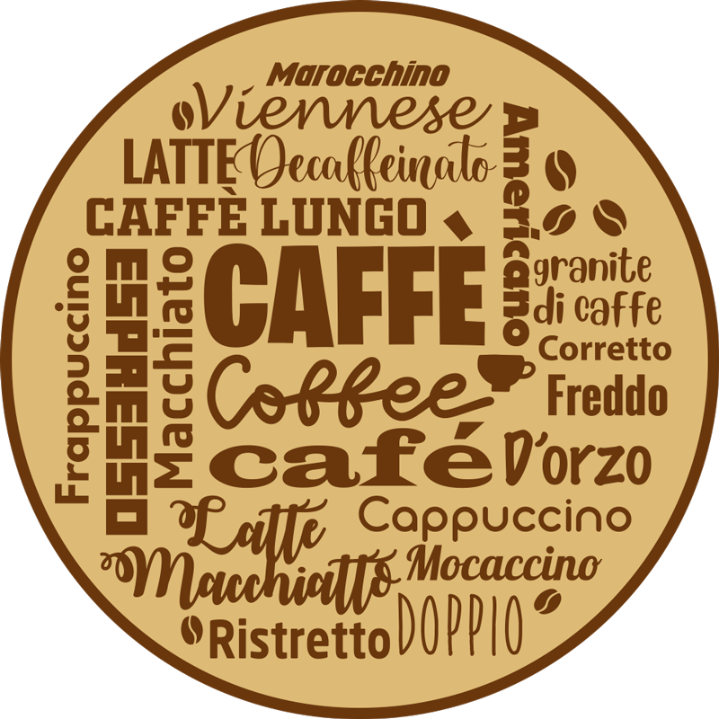 TenStickers. Multi-lingual Coffee vinyl rug. Coffee vinyl rug which features the word coffee in lots of different languages in a cool, mind-map pattern. Sign up for 10% off.