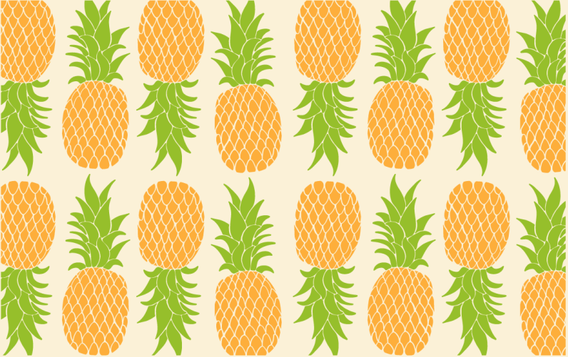 TenStickers. Pinapple pattern kitchen flooring. Rectangular vinyl runner rug with the illustration of several big pineapples on a white background, perfect for filling your kitchen with joy.