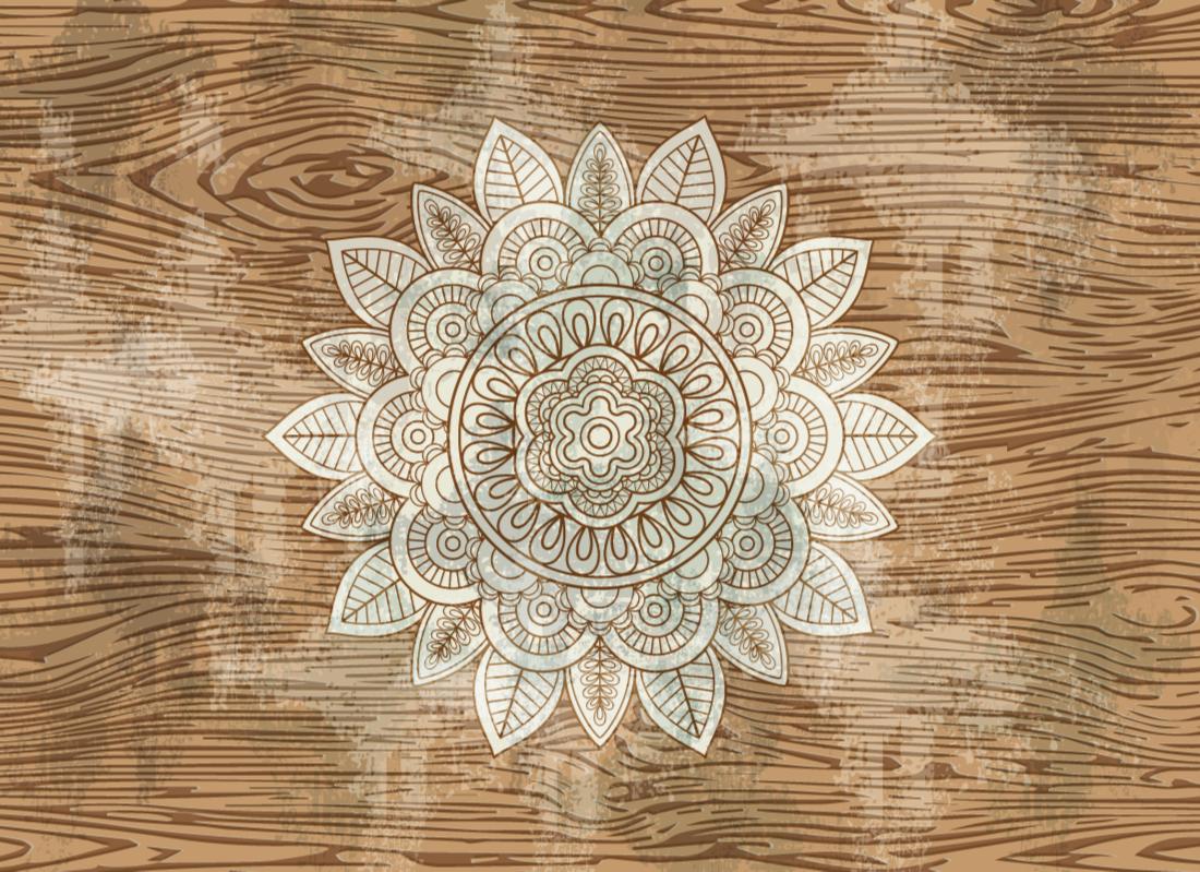 TenStickers. Dekoratif çiçek desenli vinil halı. Çarpıcı, karmaşık bir desenle dekore edilmiş muhteşem bir çiçeğe sahip çiçek vinil kilim. Yüksek kaliteli metaryeller.
