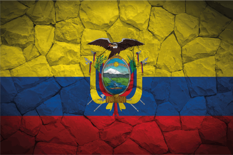 TenVinilo. Alfombra vinilo textura piedra de Ecuador. Alfombra vinilo textura piedra con la bandera ecuatoriana y el escudo con efecto textura piedra, perfecto para colocar en cualquier estancia